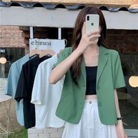 2021 blazers women short sleeve outwear summer thin solid color single breasted casual office lady top coat