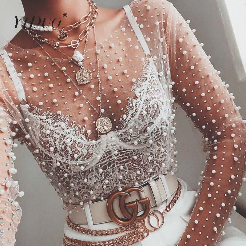 YiDuo mujeres transparente cuello redondo de manga larga Sexy encaje malla camisa Club parte superior señoras 2020 primavera perla rebordear blusa Blusas