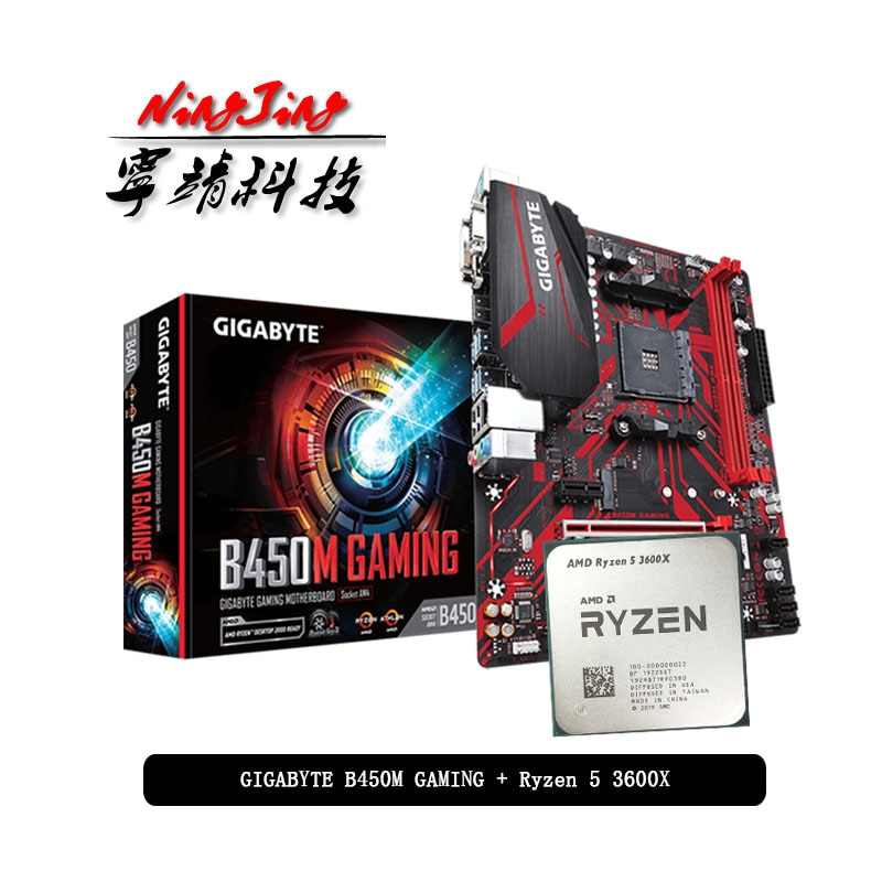 AMD Ryzen 5 3600X R5 3600X CPU + GA B450M GAMING Motherboard Anzug Buchse AM4 CPU + Motherbaord Anzug Buchse AM4 Ohne kühler