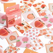 Mohamm 46Pcs Lovely Peach Series Stickers Decoration Scrapbooking Paper Creative Stationary School Supplies