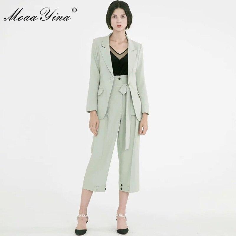 MoaaYina moda diseñador traje de pasarela Primavera Verano mujer traje de manga larga Tops + encaje-Up 3/4 pantalones dos- conjunto de piezas