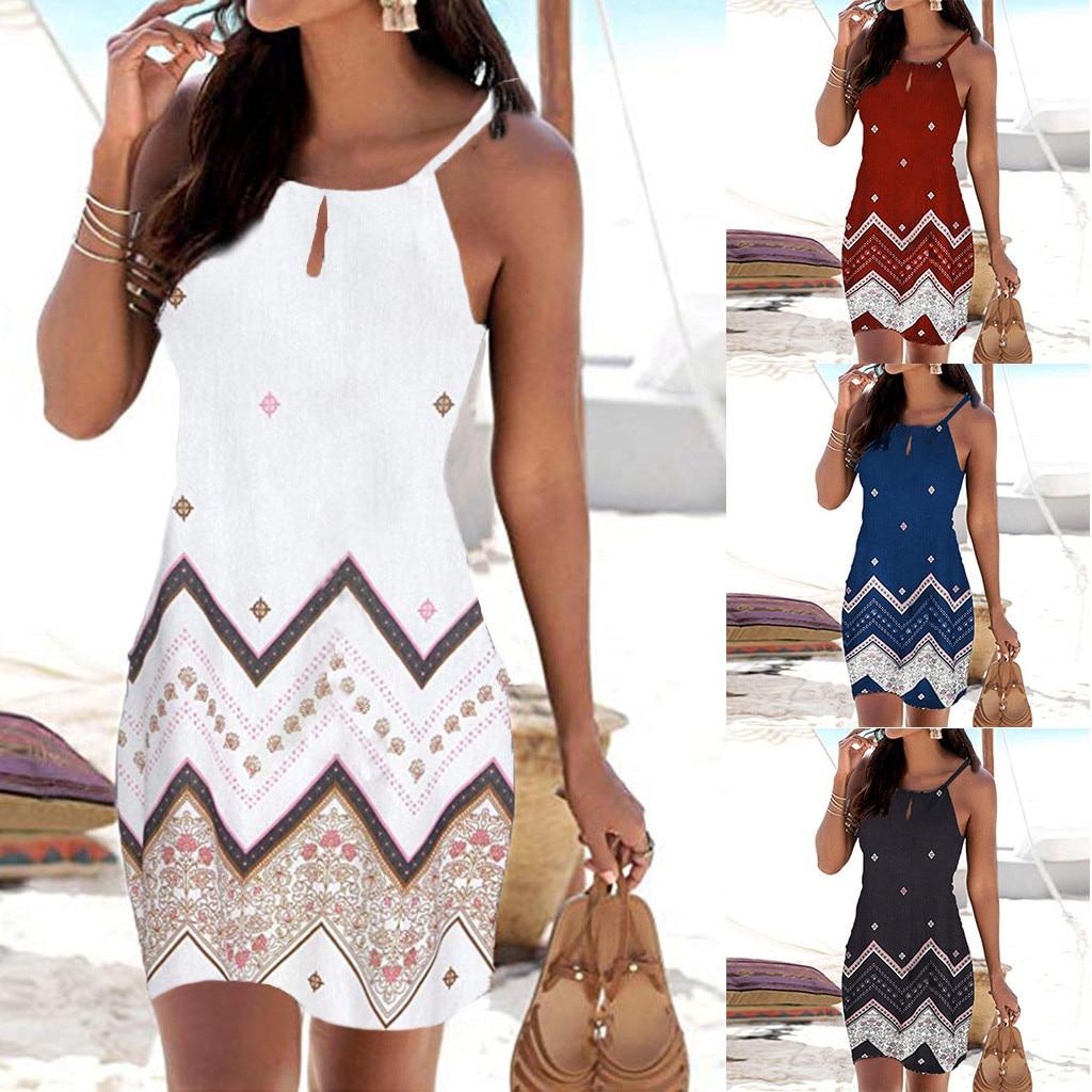 Women Halter Neck Boho Print Sleeveless Casual Mini Beachwear Dress Sundress vestidos de verano summer dress 2019 vestidos*