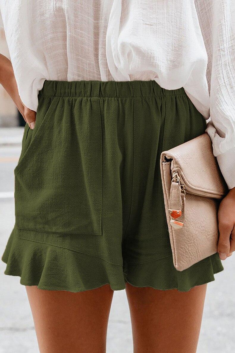 Elastic Waist Shorts Women High Waist Pockets 2021 Woman Clothing Sexy Plus Woman Shorts Casual