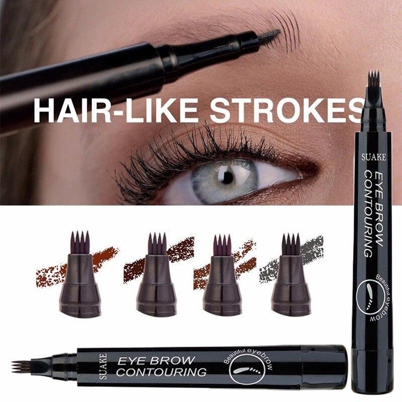 3D Microblading Eyebrow Pencil 4 Fork Liquid Eyebrow Tattoo Pen 4 Color Sketch Brow Dye Cosmetic Wat