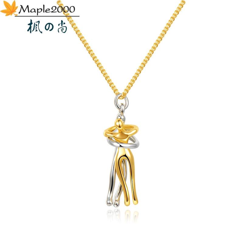 De moda amor pareja collar con colgante de aleación abrazando collares collar de oro para las mujeres joyería de moda regalo de la novia