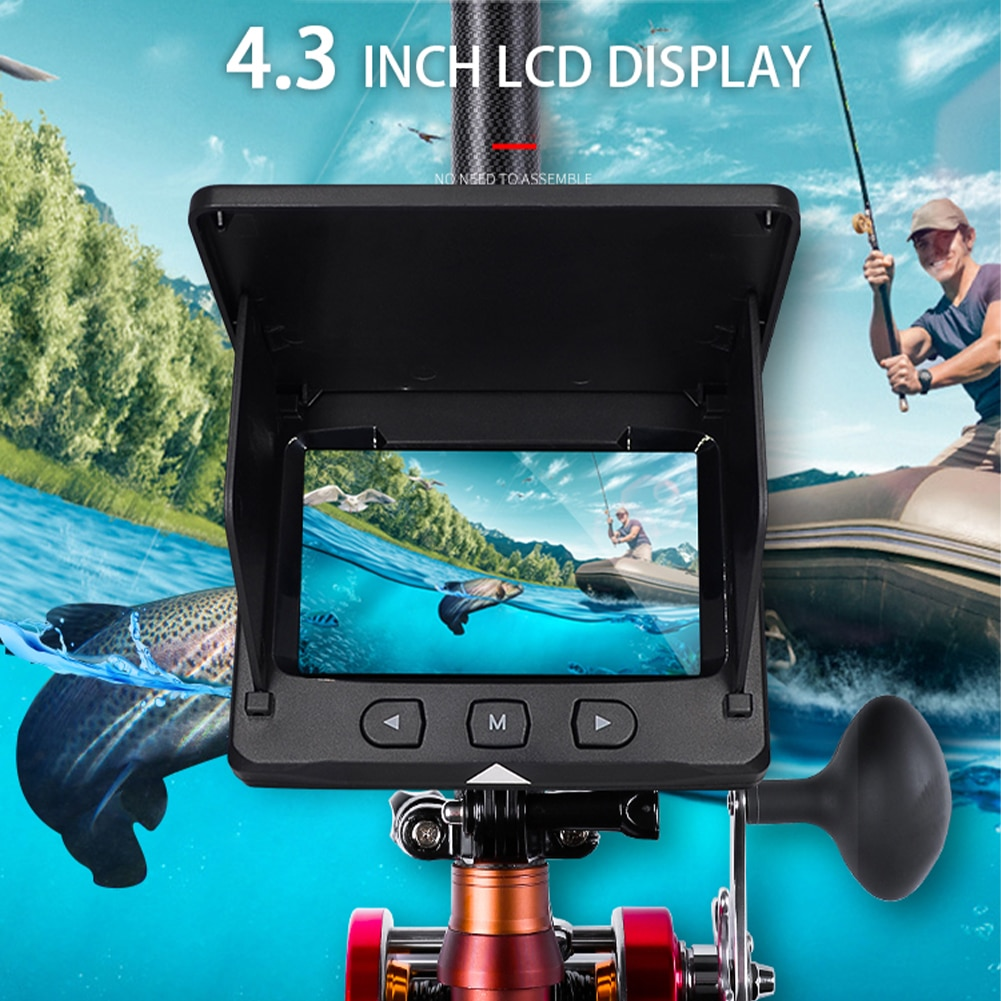 4.3 Inch Monitor Underwater Fishing Camera 30M 1000TVL 195° Wide Angle Infrared Night Vision Monitoring Fish Finder Tackle enlarge