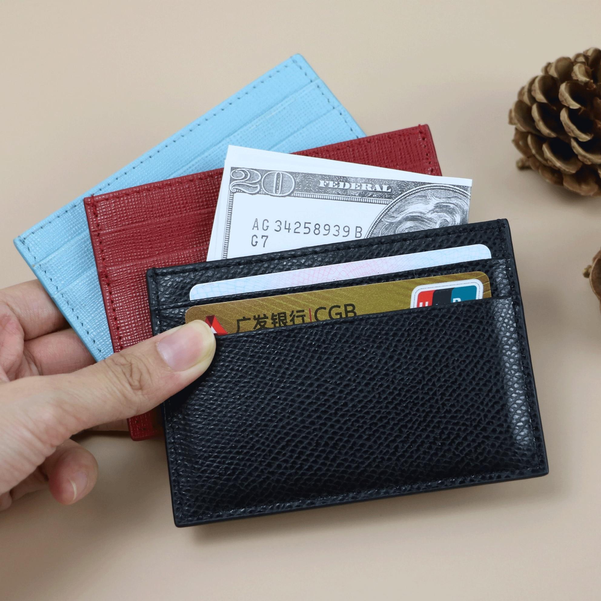 Tarjetero de cuero con iniciales personalizadas para hombre y mujer, tarjetero de moda para tarjetas de crédito y de identificación, bolsita monedero para hombre