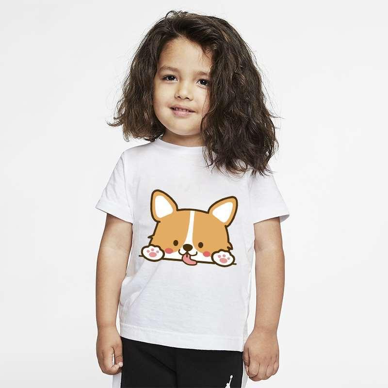 Детские милые футболки с принтом корги, летние детские Графические футболки для мальчиков и девочек, Мультяшные футболки, футболки с коротк...