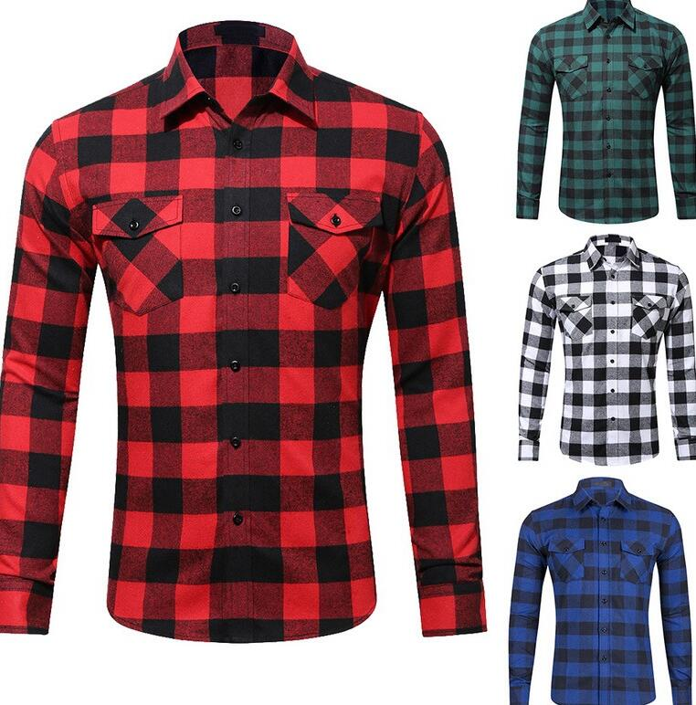 Мужская офисная рубашка в красно-черную клетку, модная Осенняя рубашка в клетку, рубашка с длинным рукавом, Мужская блузка