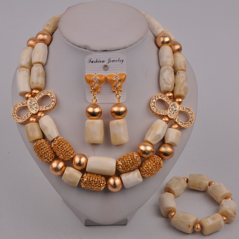 Fashion White Coral Necklace Jewelry Set African Wedding Beads Nigerian Bridal Jewelry Sets 321-J1
