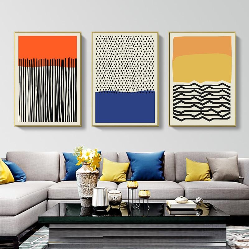Moderno amarillo colorido póster rojo abstracto lienzo pintura nórdicos arte de pared imprimir imagen sala de decoración del hogar