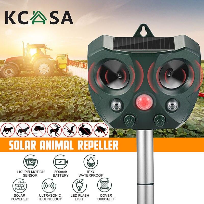 KCASA New Solar Ultrasonic Animal Repeller PIR Sensor Outdoor Garden Pest Mouse Bird Cat Dog Bat Rep