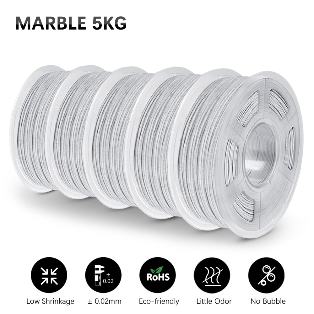 GOHIGH PLA Marble Filament 5 Rolls  Marble Effect 1.75mm Tolerance +/-0.02mm Rock For All 3D Printer Refills