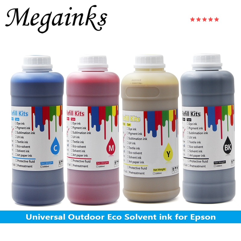 4color DX5 DX7 XP600 TX800 1000ML Outdoor eco Solvent Ink for Epson DX5 DX7 XP600 TX800 printhead oily piezoelectric head