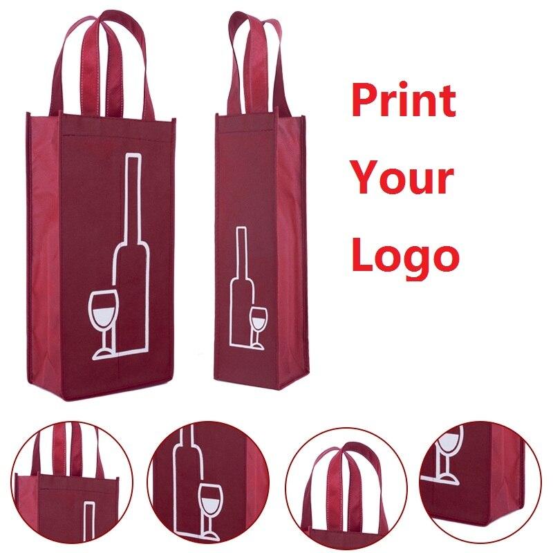 500 unids/lote bolso de compras reutilizable resistente de tela no tejida llevar botellas de vino bolsa de regalo con logotipo personalizado