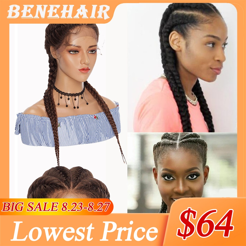 Benehair 24' Hand Braided Wigs With Baby Hair Synthetic Box Braids Wig Afro Wig African American Style Twist Wig For Black Women