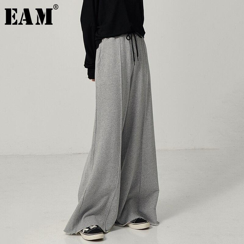 [EAM] High Elastic Waist Brief Black Long Wide Leg Trousers New Loose Fit Pants Women Fashion Tide Spring Autumn 2020 1D117