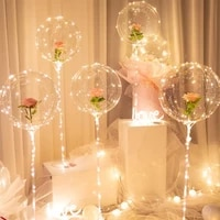 plastic balloon stand led balloons decor bobo balloon stick stand with battery lights for glow party wedding christmas