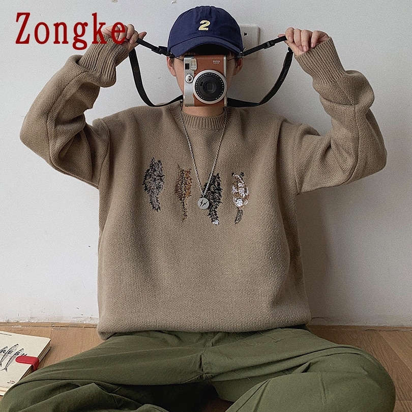Zongke Embroidery Knitted Brown Sweater Men Clothing Pullover Men Harajuku Sweater Streetwear Sweaters Clothes 2XL 2021 Spring