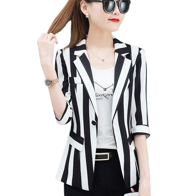 S - 4XL New Women Blazers Slim Jackets Female Plus Size 2020 Autumn Black White Office Attire Striped Blazer
