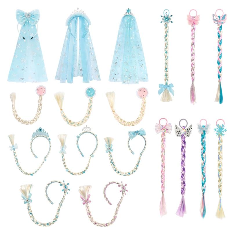 Girl Princess Hair Accessories Kids Elsa Anna Cinderella Crown Set Wig Braid for Children Girls Cosplay Aurora Mermaid Unicorn