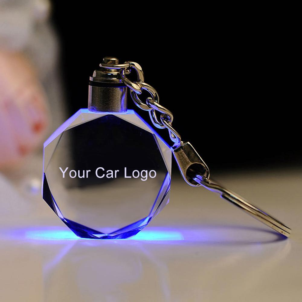 2020 New Trendy Luminous keychain Car Key Chain Key Ring Cut Glass Car Logo Key Holder Ring Keyring LED Lights Keychains