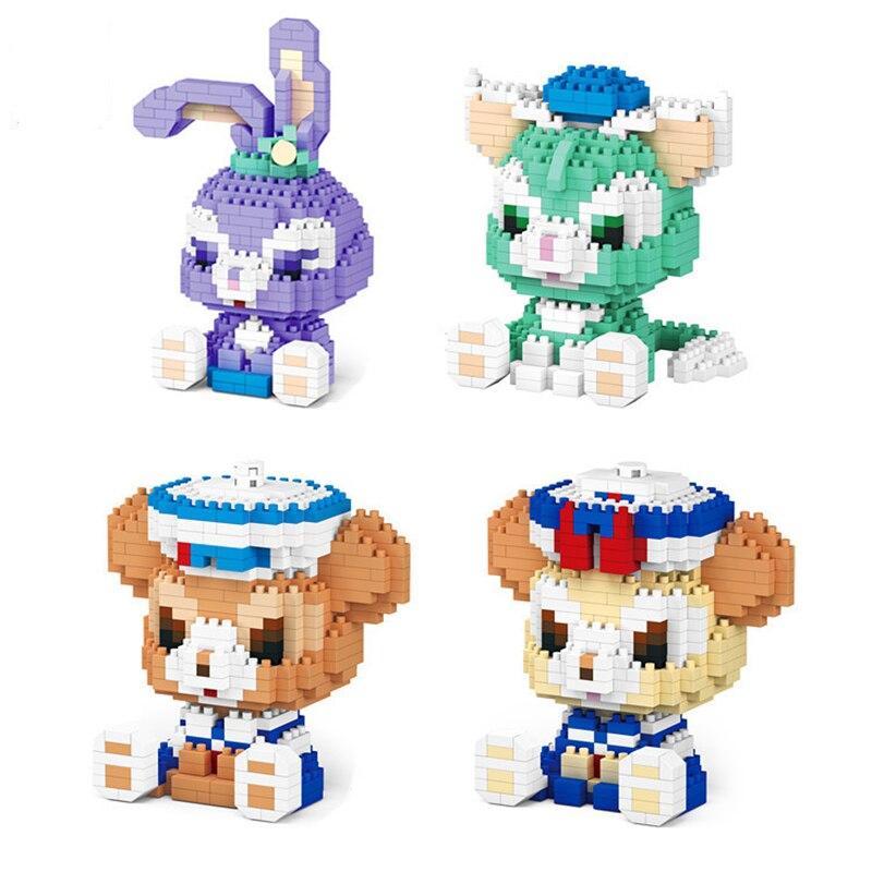 Bloques de construcción serie Disney 7152A, Duffy StellaLou Gelatoni micro 3D, modelo de bloques, figuras de Anime para Mini ladrillos, Juguetes