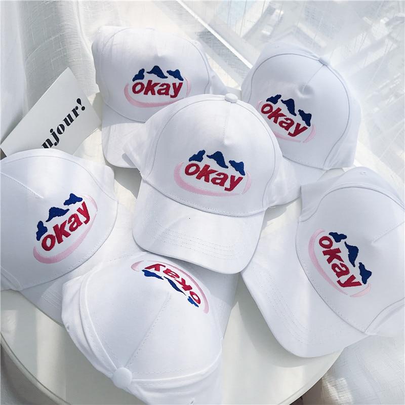 Ins OK letra béisbol sombrero mujeres coreano verano blanco pato lengua sombrero para mujer Simple Joker ocio suave Top Bonnet streetwear