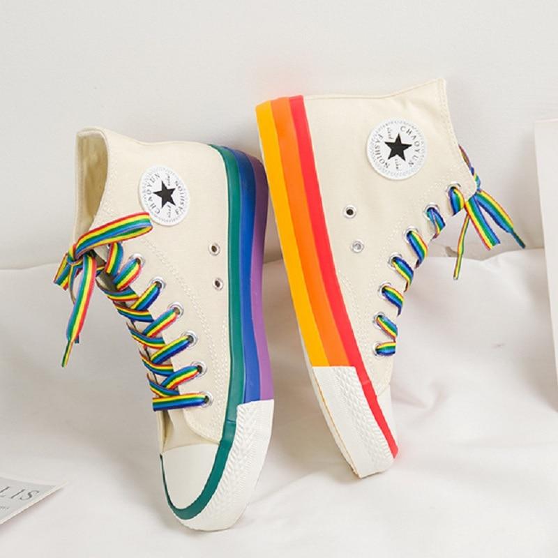 Fashion Women Sneakers Rainbow Bottom Women Shoes High Top Sneaker Canvas Shoes White 2020 Spring Summer Women Vulcanized Shoes