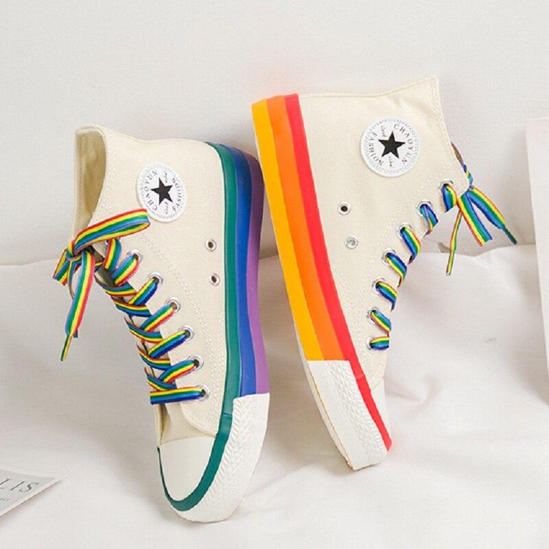 Mode Frauen Turnschuhe Regenbogen Unteren Frauen Schuhe High Top Sneaker Leinwand Schuhe Weiß 2020 Frühling Sommer Frauen Vulkanisierte Schuhe