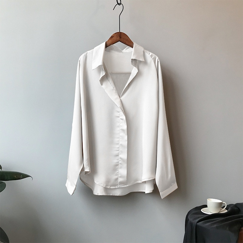 Primavera mujeres moda Chic seda camisas suelta de manga larga cuello pico blusa mujer ropa Turn Down Collar Blusas femeninas Elegante