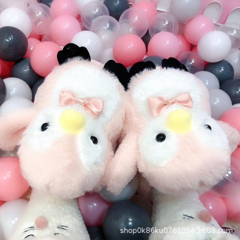 Women Home Slippers Cute Cartoon Penguin Indoor Shoes For grils Plush Platform Warm With Home Cotton Slippers Women slippers for home use emoji soft cute cartoon slipper winter warm plush women shoes indoor home slippers for female women shoes