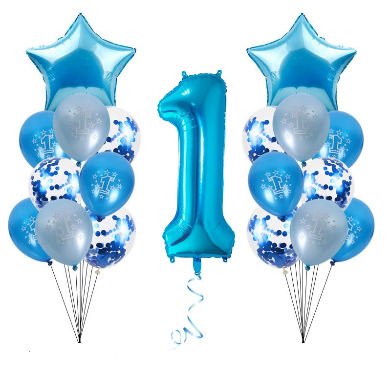 AliExpress - WEIGAO Blue One Foil Balloons Set First Birthday Decor One Year Old Number Balloons Baby Shower Boy 1st Birthday Decor Supplies