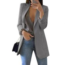 Women Blazer Fashion Solid Color Lapel Long Sleeve Business Women Blazer Coat Suit Jacket