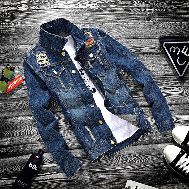 Chaqueta vaquera a la moda de primavera y otoño para hombre, chaqueta de manga larga para adolescentes con agujero rasgado, abrigo de estudiante de secundaria para hombre erkek mont