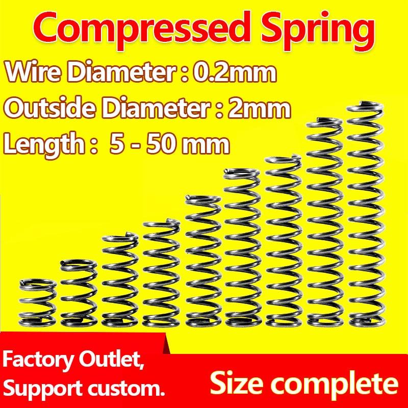 Resorte de presión resorte de liberación de resorte de retorno diámetro del cable 0,2mm, diámetro exterior 2mm