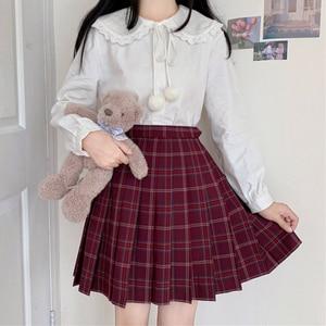 Japanese Style  Cute Doll Collar Fuzzy Ball Hanging Drop Versatile Long Sleeve Shirt for Women Autumn and Winter Lolita Shirt