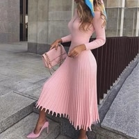 elegant party pleated sweater dress women 2019 winter autumn pink office ladies midi knitted vestido sexy slim plus size dresses