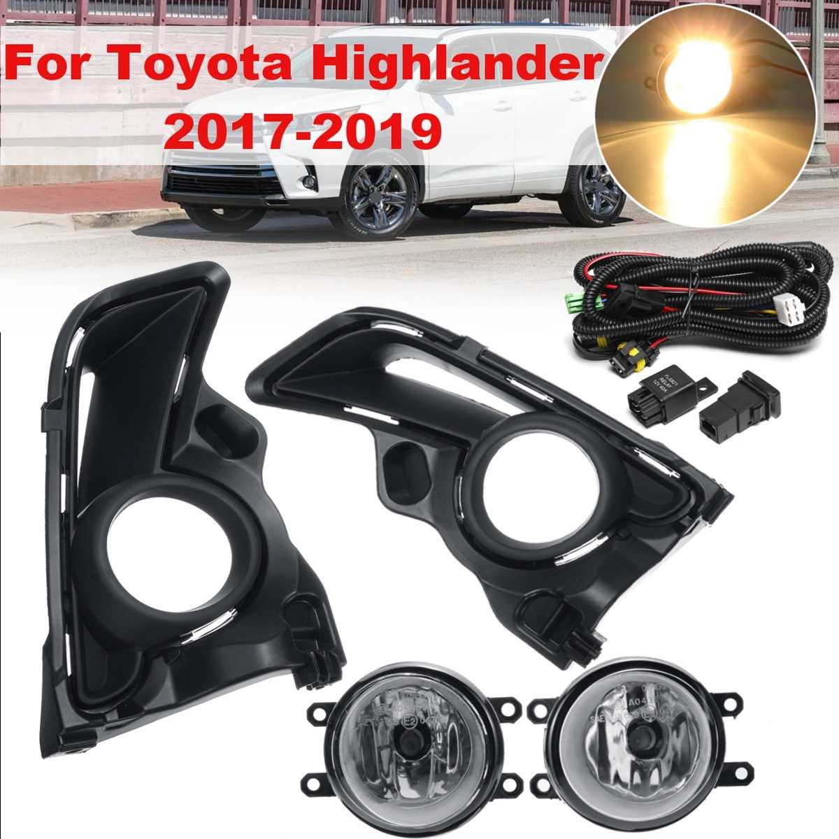 For Toyota Highlander 2017 2018 2019 WJ30-0567-09 1 Pair Bumper Fog Lights Light Lamp And Grill Cover Headlight Daytime Light