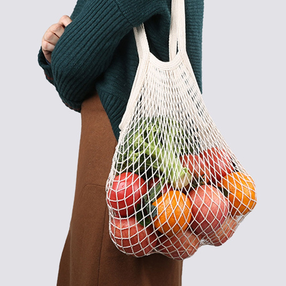 Cotton Mesh Vegetable Bags Produce Bag Reusable Storage Kitchen Fruit With Drawstring Casual
