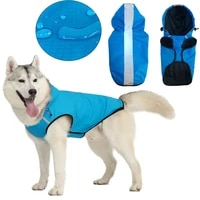 hooded puppy outdoor raincoat waterproof safety mesh labrador pu reflective dog clothes breathable big pet cat two feet jacket