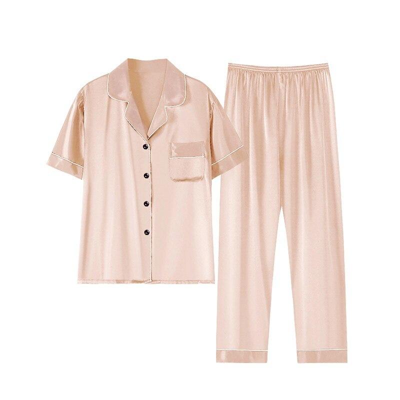 Pijama de talla grande para mujer y ropa de dormir sedosa de...