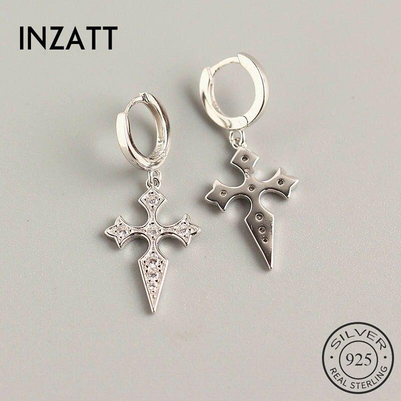 Inzatt real 925 prata esterlina zircon cruz hoop brincos para moda feminina festa jóias finas minimalista acessórios presente