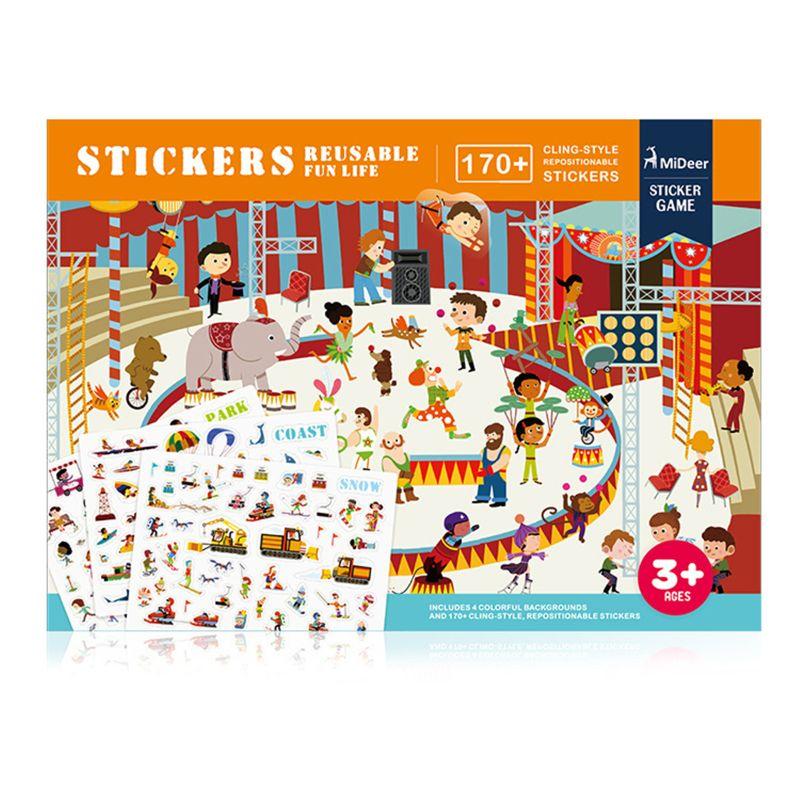 2020 nova MiDeer New Reutilizável Adesivos Livro Game Pad Coleção Crianças Brinquedos Educativos para