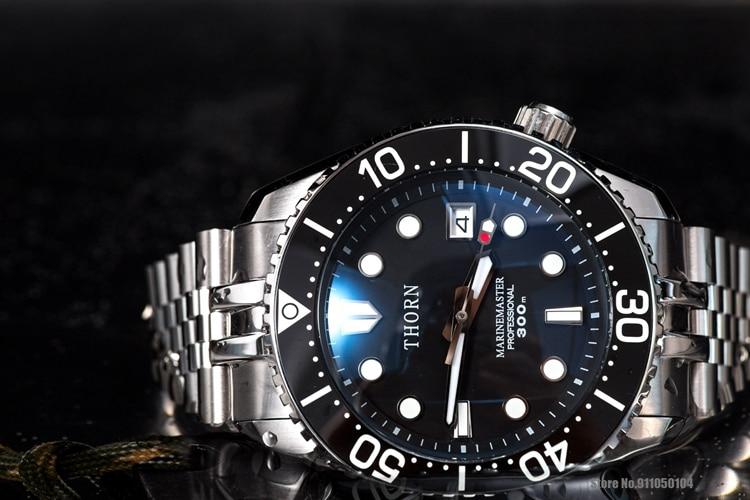 Heimdallr THORN MM Automatic Dive Watch 300M Waterproof Men Water Ghost Sapphire Glass Blue Luminous Dial Mechanical Wristwatch enlarge