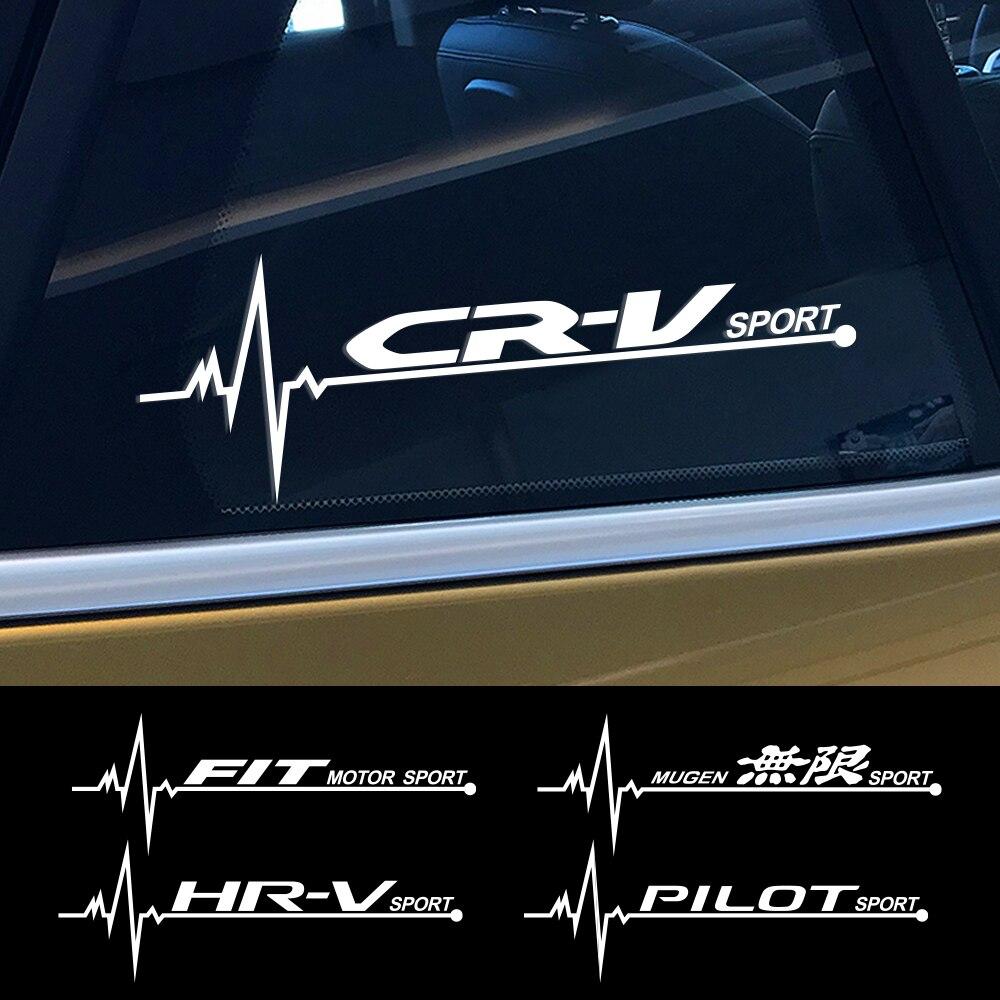 2PCS For Honda Fit Odyssey City Mugen Pilot HR-V CR-V Jazz Legend RR Si VTi Car Sticker Side Window Decor Decal Auto Accessories