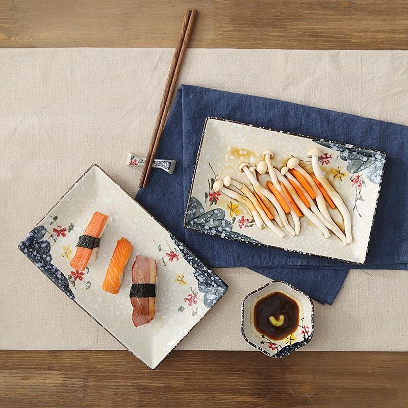 LingAo-طبق سوشي سيراميك مطلي يدويًا ، طبق فاكهة مستطيل ، طاولة بورسلين للفنادق