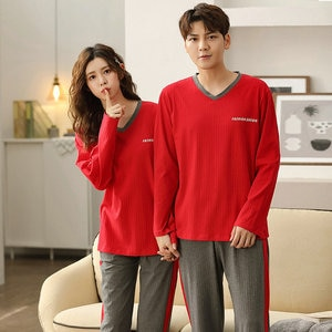 2021 NEW Cotton Thread Lovers Female Pajamas Long Sleeve Thin 2 Pieces/Set Pullover 3XL