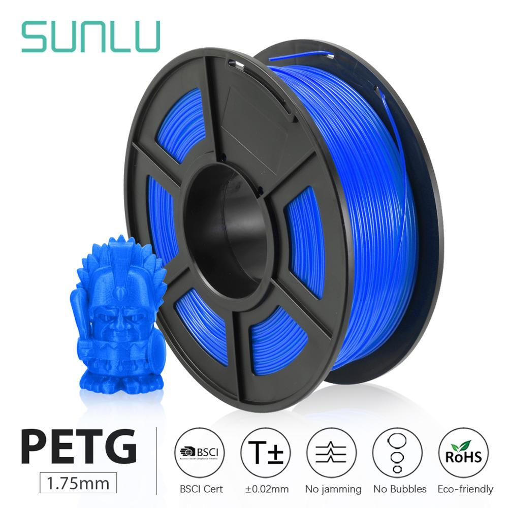 SUNLU 3D Printer Filament PETG 1.75mm 1KG/2.2LBS With Spool PETG Filament 100% No Bubble Sublimation
