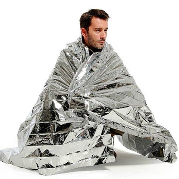 Manta térmica portátil de emergencia para rescate espacial, a prueba de agua, 2,1 m x 1,3 Mylar, manta de primeros auxilios en plata, cortina de rescate, manta militar